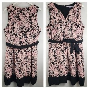 Luxe by Carmen Marc Valvo Pink Black Floral Dress